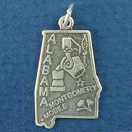 State of Alabama Sterling Silver Charm Pendant and Cities