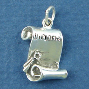 Graduation Diploma Unrolled 3D Sterling Silver Charm Pendant Photo Main