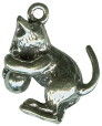 Cat: Kitten with Ball of Yarn Medium 3D Sterling Silver Charm Pendant Photo Main