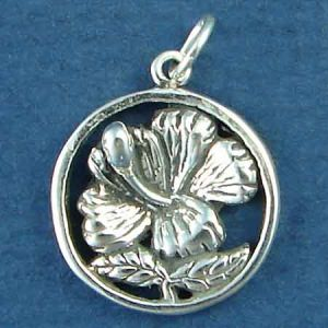 Flower: Hibiscus on Disc with Word Phase Hawaii Sterling Silver Charm Pendant Photo Main