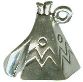 Indian Teepee 3D Sterling Silver Indian Charm Pendant Photo Main