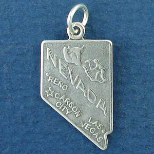 State of Nevada Sterling Silver Charm Pendant and Cities Carson City, Las Vegas and Reno with Picture of Mountain Climber and Cattle Photo Main