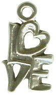 Love Word Phrase with Heart Accent Sterling Silver Charm Pendant Photo Main