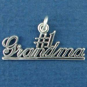 #1 Grandma Word Phase Sterling Silver Charm Pendant Photo Main