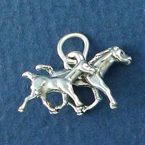 Horse Mare and Colt 3D Sterling Silver Charm Pendant Photo Main