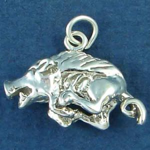 Razor Back Hog 3D Sterling Silver Charm Pendant Photo Main