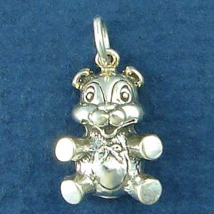 Sitting Teddy Bear Charm Sterling Silver Pendant Photo Main