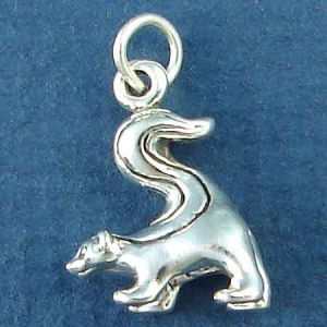 Skunk with Tail Raised 3D Sterling Silver Charm Pendant Photo Main