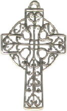 Cross with Filigree and Lace Design Sterling Silver Charm Pendant Photo Main
