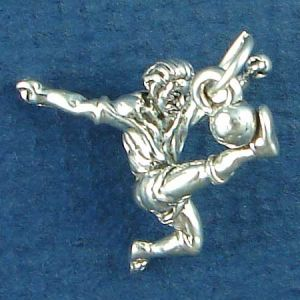Soccer Player Male Kicking a Soccer Ball 3D Sterling Silver Charm Pendant for Bracelet Photo Main