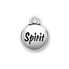Inspiration Round Domed Affirmation Spirit Round Sterling Silver Word Charm Message Height 15-mm, Width 11-mm, Depth 3-mm, All sizes are rounded to the nearest millimeter.