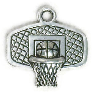 Backboard Basketball Charm in Antique Silver Pewter Photo Main