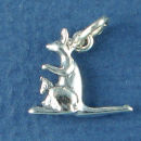 Kangaroo Charm Sterling Silver Pendant in 3D with Baby Joey