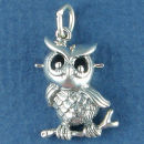 Bird Owl Charm Sterling Silver Pendant on Branch