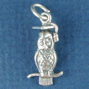 Wise Owl Charm Sterling Silver Pendant in 3D Wearing a Graduation Cap
