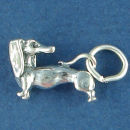 Dog Dachshund Charm Sterling Silver Pendant in 3D