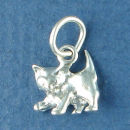 Cat Kitten Charm Sterling Silver Pendant 3D