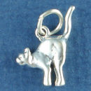 Scared 3D Cat Charm Sterling Silver Pendant in Halloween Pose