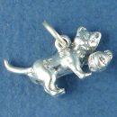 Cat Kitten Charm Sterling Silver Pendant with Ball of Yarn in 3D