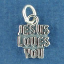 Religious: Jesus Loves You Word Phrase Sterling Silver Charm Message Pendant