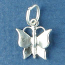 Butterfly Small 3D Sterling Silver Charm Pendant