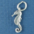 Seahorse Small 3D Sterling Silver Charm Pendant