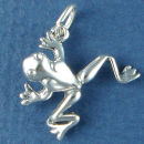 Frog 3D Jumping Sterling Silver Charm Pendant