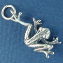 Jumping Frog Charm Sterling Silver