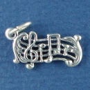 Music Staff with Notes 3D Sterling Silver Charm Pendant
