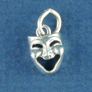 Comedy and Tragedy Drama School Happy Mask Sterling Silver Charm Pendant