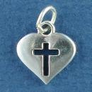 Heart with Cutout Cross Sterling Silver Charm Pendant