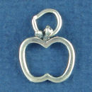 School Teacher Apple Outline Child's Sterling Silver Charm for Bracelet or Necklace