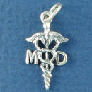 Caduceus MD Medical Symbol 3D Sterling Silver Charm Pendant