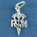 Caduceus Medical RN Nurse 3D Symbol Sterling Silver Charm Pendant