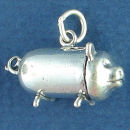 Piggy Bank for Saving Money 3D Sterling Silver Charm Pendant