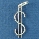 Dollar Sign Symbol of Money 3D Sterling Silver Charm Pendant
