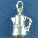 Kitchen: Coffee Pot 3D Cooking Sterling Silver Charm Pendant