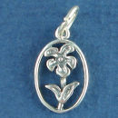 Flower in Oval Bezel 3D Sterling Silver Charm Pendant