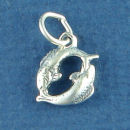 Astrology Zodiac Sign Charm Pisces Fish 3D Sterling Silver Charm Pendant
