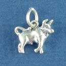 Astrology Zodiac Sign Charm Taurus 3D Sterling Silver Charm Pendant