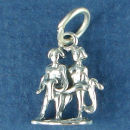 Astrology Zodiac Sign Charm Gemini 3D Sterling Silver Charm Pendant