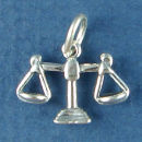 Astrology Zodiac Sign Charm Libra 3D Sterling Silver Charm Pendant