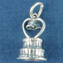 Wedding Cake 3D with Heart and Bells Sterling Silver Charm Favor for Wedding Charm Bracelet