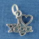 Yoga, I Love Open Heart Sports Meditation Sterling Silver Charm Pendant