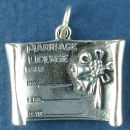 Wedding Marriage License 3D Sterling Silver Charm Favor for Wedding Charm Bracelet