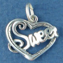 Heart Word Phrase Sweet Sterling Silver Charm Pendant