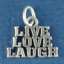 Live Love Laugh Word Charm and Message Phrase Sterling Silver Charm for Charm Bracelet
