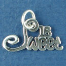 Sweet 16 Birthday Sterling Silver Charm Pendant add to a Charm Bracelet
