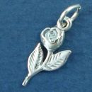 Flower: Rose on Stem Sterling Silver Charm Pendant