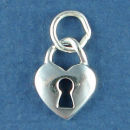 Heart Shaped Lock Sterling Silver Charm Pendant Great for a Charm Bracelet